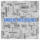pic of ami  - Close up AMBIENT INTELLIGENCE Text at the Center of Word Tag Cloud on White Background - JPG