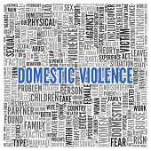 stock photo of domestic violence  - Close up DOMESTIC VIOLENCE Text at the Center of Word Tag Cloud on White Background - JPG