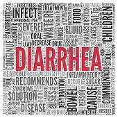 stock photo of diarrhea  - Close up DIARRHEA Text at the Center of Word Tag Cloud on White Background - JPG
