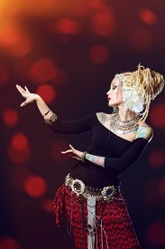 picture of belly-dance  - Studio shot of a beautiful traditional female dancer - JPG