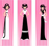 pic of matron  - Illustration of three women in dresses on a pink background - JPG