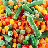 picture of frozen food  - Frozen vegetables with ice - JPG
