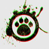 image of paw-print  - tiger paw in grunge circle on grey background - JPG