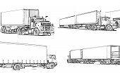 image of semi-truck  - Illustration artictulated semi trucks line art  - JPG