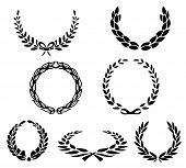 foto of olive branch  - set of vector laurels - JPG