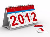 pic of new years celebration  - 2012 year calendar on white background - JPG