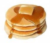 stock photo of maple syrup  - Stack of Pancakes with Butter and Syrup - JPG
