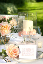 image of wedding table decor  - Place setting and card on a table at a wedding reception - JPG