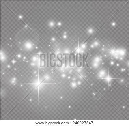 poster of White Sparks And Golden Stars Glitter Special Light Effect. Vector Sparkles On Transparent Backgroun