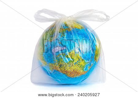 poster of Model Planet Earth (globe) In Polyethylene Plastic Disposable Package, Isolated On White Background.