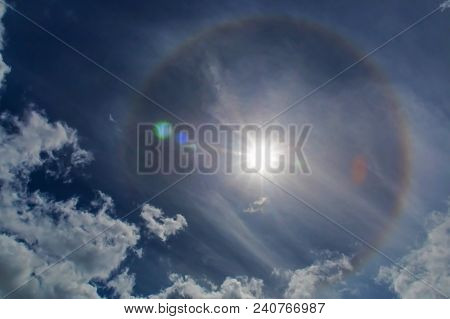 poster of Sun Rainbow Halo. Halos Are Atmospheric Phenomena Created By Light Which Is Reflected Or Refracted B