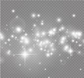 White Sparks And Golden Stars Glitter Special Light Effect. Vector Sparkles On Transparent Backgroun poster