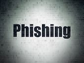 Security Concept: Painted Black Word Phishing On Digital Data Paper Background poster