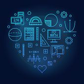 Math Heart Blue Vector Illustration Made Of Mathematics Outline Concept Icons On Dark Background poster