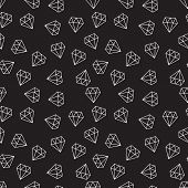 Diamonds Dark Random Seamless Vector Pattern Or Texture Made With Linear Diamond Signs poster