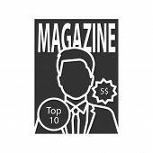 Magazine Glyph Icon. Tabloid. Periodical Publication With Celebrity Photo. Silhouette Symbol. Negati poster