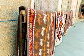 Group Of Precious Ancient Colored Wool Azeri Ancient Carpets Made By Hand In Ancient City At Carpet  poster