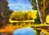 Bright Sunny Landscape. Oil Painting Of Forest Is Reflected In Water River. Autumn On Lake Etude Ske poster