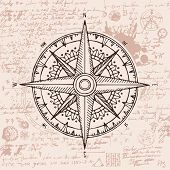 Hand-drawn Vector Banner With A Wind Rose And Old Nautical Compass In Retro Style. Illustration On T poster