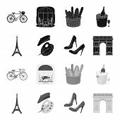 Eiffel Tower, Brush, Hat .france Country Set Collection Icons In Black, Monochrome Style Vector Symb poster