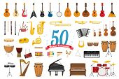Vector Illustration Set Of 50 Musical Instruments In Cartoon Style Isolated On White Background poster