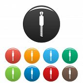Coat Zip Icon. Simple Illustration Of Coat Zip Vector Icons Set Color Isolated On White poster