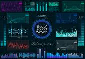 Set Of Sound Waves, Futuristic Style. Audio Player. Music Colorful Elements For Your Design. Audio E poster