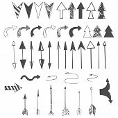Arrows, Pointer, Dart Icons. Hand Drawn Vector Arrows Set. Arrows Of Different Shapes On White Backg poster