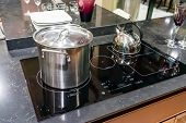 Metal Pot On Induction Hob In Modern Kitchen. Modern Kitchen Pot Cooking Induction Electrical Stove  poster