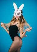 Sexy Bunny Girl. Easter Bunny Female. Beautiful Seductive Woman In Sexy Lingerie And In Bunny Mask.  poster