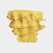 Smear Gold Paint. Vector Golden Spot. Golden Brush. Abstract Gold Glittering Textured Art Illustrati poster