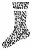 Sock Mosaic Of Dollars And Round Points. Vector Dollar Symbols Are United Into Sock Illustration. poster