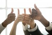 Hands Of Diverse Business Team People Showing Thumbs Up Like Finger Gesture As Concept Of Recommenda poster
