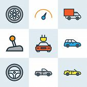 Automobile Icons Colored Line Set With Speedometer, Pickup, Crossover And Other Electric  Elements.  poster