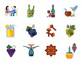 Wine Icon Set. Dinner Summer Cocktails Bunch Of Grapes Bottle Of Wine And Glass Lemonade Cloves Grap poster