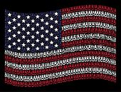 Beer Bottle Items Are Arranged Into Waving American Flag Mosaic On A Dark Background. Vector Collage poster