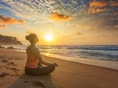 Woman doing yoga - meditate and relax in Padmasana Lotus asana pose with chin mudra outdoors at trop poster