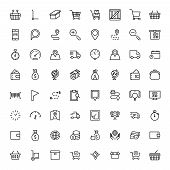 Online Market Flat Icon Set. Single High Quality Outline Symbol Of Info For Web Design Or Mobile App poster