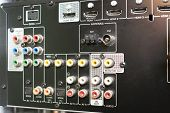 Back Of Audio Receiver Video For Home Theater With Inputs For Connecting Equipment And Output To Spe poster