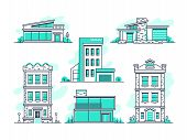 Houses And Buildings Property And Accommodation Line Icons. Modern Architecture Outline Symbos Isola poster