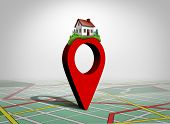 Finding A Home And Find Property Concept As A Pin With A Family House As A Real Estate Buying Or Loc poster