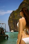 Woman in beautiful lagoon at Phi Phi Ley island