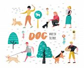People Training Dogs In The Park. Characters Walking Outside With Pets. Vector Illustration poster