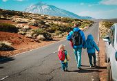 Family Travel By Car-father With Kids On Road In Mountains, Vacation With Kids poster