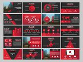 Red Abstract Presentation Templates, Infographic Elements Template Flat Design Set For Annual Report poster