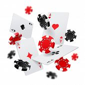 Flying Poker Chips And Aces Cards For Internet Casino Banner. Las Vegas Gambling Poster Or Sign. For poster