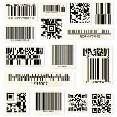 Set Of Isolated Barcodes And Qr Codes For Hyperlinks. Cellular Phone Or Smartphone Scanning Technolo poster