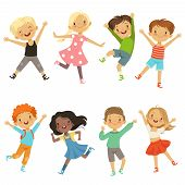 Active Kids In Different Action Poses. Vector Illustrations. Young Boy And Girl Happiness, Active Ju poster
