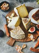 Cheese Platter With Cheese Assortment, Figs, Honey, Fresh Bread And Nuts On Board Over Grey Concrete poster