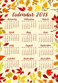 Autumn Leaves Calendar 2018 Template Or Fall Foliage. Vector Design Of Maple, Oak Or Birch And Rowan poster